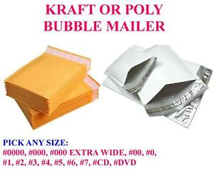 Pick Kraft Or Poly Bubble Mailers Padded Bags Shipping Mailing Seal Envelopes
