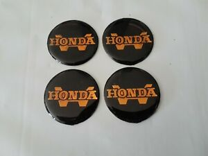 Set Of 4 Nos Vintage Honda blk gld Center Cap Decals Stickers 37mm