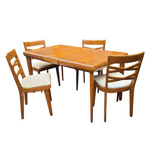 Vintage Heywood Wakefield Solid Maple Dining Set Table W 1 Leaf 4 Side Chairs