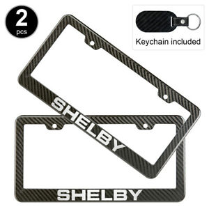 2pcs Set Ford Shelby License Plate Frame Carbon Fiber Look Glossy Plastic