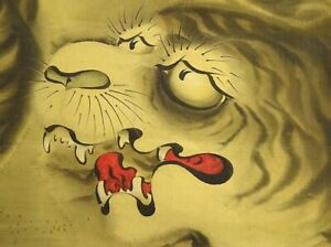 Japanese Painting Hanging Scroll Japan Cat Tiger Moon Picture Antique E097