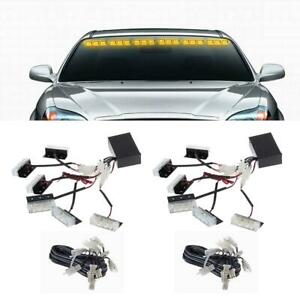 2x Amber 18 Led Grille Deck Dash Urgent Warning Strobe Lights Replacement Yellow