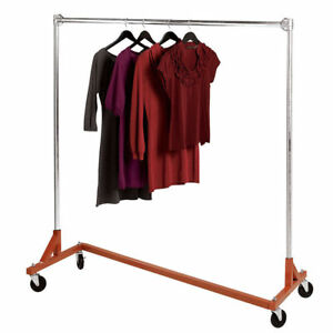 Clothing Garment Rack Z truck Rolling Single Rail Osha Heavy Duty 300 Pounds