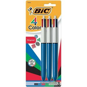 Bic 4 color Retractable Ballpoint Pens 3pk New sealed