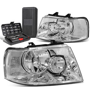 For 2003 2006 Ford Expedition Pair Chrome Clear Turn Signal Headlights Tool Box