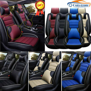 13 Luxury Car Seat Cover Interior Cushion Pu Leather Full Front Rear Protector