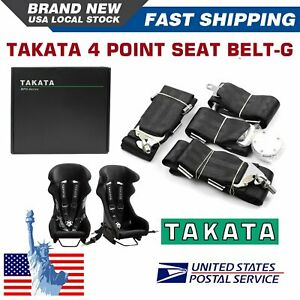 Takata Race 4 Point Snap on 3 Racing Seat Belt Harness With Camlock black Us