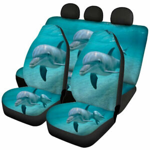 Cute Dolphin Print Car Seat Covers Full Set Front Rear Universal Fit Protector