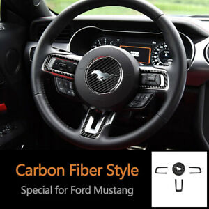 Carbon Fiber Steering Wheel Emblem Strips Cover Trim For Ford Mustang 2015 2019