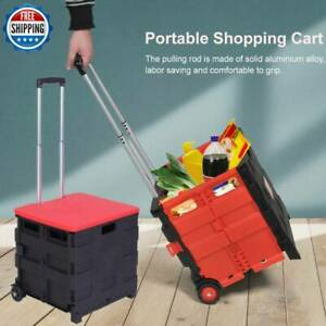 Folding Shopping Cart Portable Collapsible 2wheeled Trolley Crate Plastic Picnic