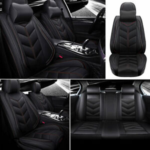 Car Seat Covers Deluxe Pu Leather Cushions Universal Car Suv 5 Sit Protector Set