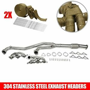 Racing Turbo Manifold Header Downpipe For 91 99 Mit 3000gt Vr 4 Gto Stealth Wrap