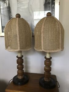 Vintage Mcm Mid Century Modern Table Lamp Wicker Shade 2 Lamps Matching Qty 2