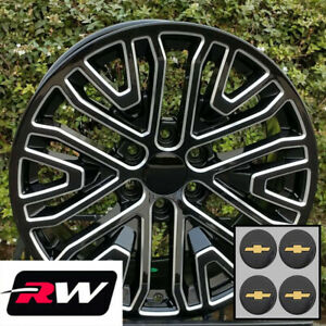 22 X9 Inch Chevy Tahoe Replica Wheels Black Machined 2019 Gm Accessory Rims