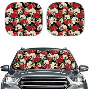 Fashion Floral Skull Design Car Windshield Sun Shades Foldable For Women 2 Pack