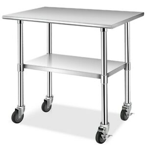 36 X 24 Stainless Steel Kitchen Prep Work Table With Wheels Adjustable Shelf