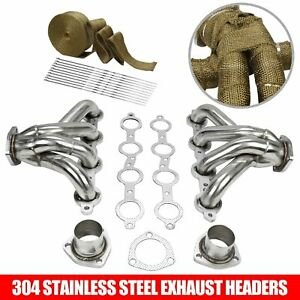 Stainless Steel Exhaust Block Hugger Headers For Chevy Ls1 Lsx 350 Eng Wrap