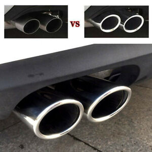 2x Universal 2 2 9 Inlet Car Exhaust Tail Tip Pipe End Trim Muffler Chrome Usa