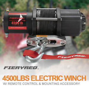 4500lbs Electric Winch Synthetic Rope W Remote Control For Atv Ute Offroad Boat