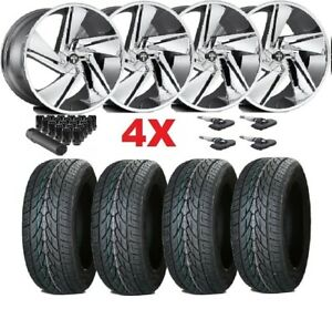 24 Chrome Wheels Rims 305 35 24 Tires Dub F 150 Navigator Expedition Lexani