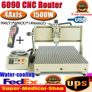 Usb 1500w 4 Axis 6090 Cnc Router Engraver Woodworking Metal Milling Machine rc