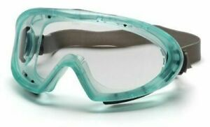 Pyramex Chemical Green Safety Goggles Glasses With Neoprene Strap Clear