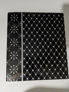 School 1 3 Ring Binder Black Silver Floral Holds 200 Sheets New