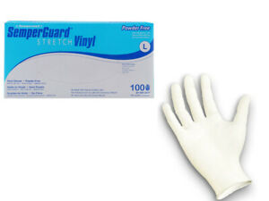 Vinyl Gloves Stretch White Powder free 100 Count
