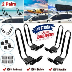 2 Pairs J Bar Kayak Canoe Car Suv Top Mount Roof Rack Carrier W Lashing Straps