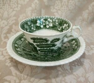 Antique Green White Copeland Spode S Tower England Cup Saucer