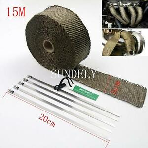 Exhaust Manifold Downpipe Titanium Heat Wrap 15m 5 Ties Rap De Cat Pipe Tape