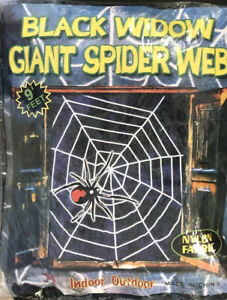 Black Widow Giant Spider Web 9 Feet Indoor Outdoor Nylon Fabric NIP