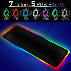 800 300mm Large Rgb Colorful Led Lighting Gaming Mouse Pad Mat Desk Pc Laptop