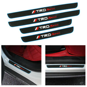 X4 Trd Blue Border Rubber Car Door Scuff Sill Cover Panel Step Protector