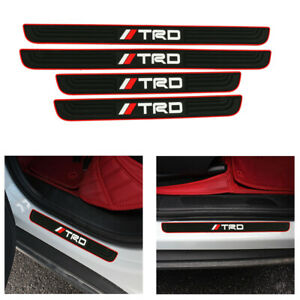 4pcs Trd Black Rubber Car Door Scuff Sill Cover Panel Step Protector
