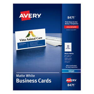 Avery 2 X 3 1 2 Matte White Inkjet Microperforated Business Cards 1 000 pk