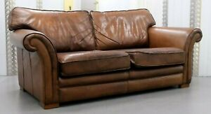Thomas Lloyds Cambridge Two Three Seater Brown Leather Sofa On Sweeping Arms