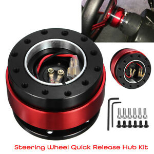 Universal Car Steering Wheel Quick Release Hub Adapter Hardware Set Aluminum Red