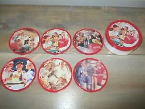 Coca-Cola Coasters - Set of 6 Drink Coasters In Metal Tin with Cork back!