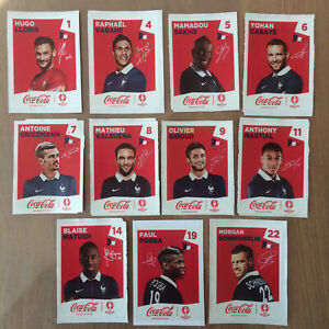 11 extra stickers coca-cola euro 2016 France complete set