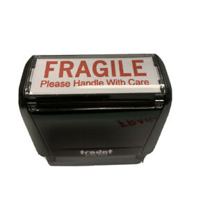 Fragile Stamp On The Trodat 4913 Self inking Stamp With Red Ink 2 X 11 16