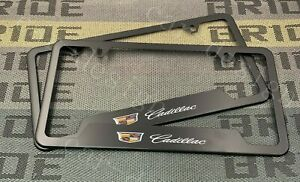 X2 Cadillac Black License Plate Frame Stainless Steel Metal New