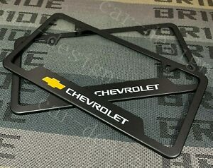 X2 Chevrolet Black License Plate Frame Stainless Steel Metal New