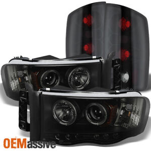 Fits 2002 2005 Ram Black Smoked Halo Projector Led Headlights Tail Lights Lamps