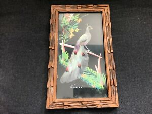 Vintage Mexican Feathercraft Peacock Bird Wood Picture Frame Mcm Mid Century