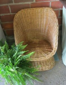 Vintage Wicker Rattan Chair Yugoslavia Boho