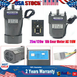 25w 120w Ac110v Gear Motor Electric Motor Variable Speed Controller 1 10 135rpm