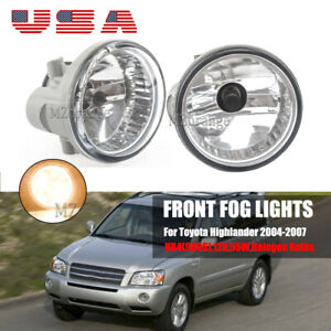 Pair Fog Light Lamp For Toyota Highlander 2004 2007 W Bulbs Factory Replacement