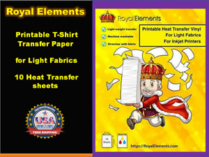 Royal Elements Printable T shirt Transfer Paper For Light Fabrics 10 Heat Sheets