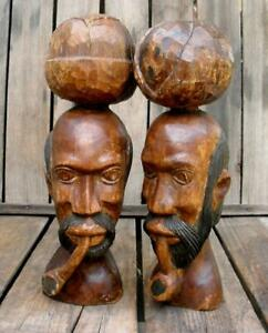 Vintage 2 Hand Carved Wood Heads Pipe Smokers With Fruit Jamaican Sculpture